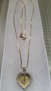 10k Gold chain with vintage heart watch pendant has real diamond