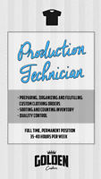 Clothing Production Technician- Full Time Position