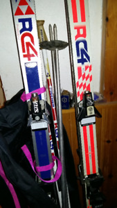 fisher skis with poles and boots