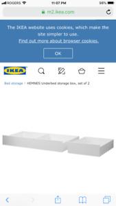 Brand New Hemnes underbed drawers storage