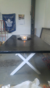 Fire and ice beautiful concrete table all year entertainment