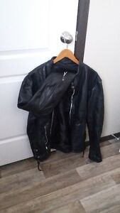 Black Leather Motorcycle Women's Jacket and Pants