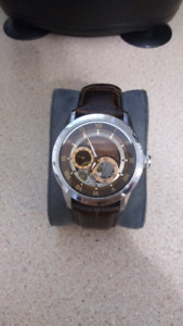 Bulova Mechanical Automatic Watch w Brown Dial & Leather Strap