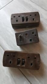 Vintage MK Brown Switched Socket