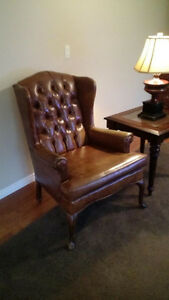 Vintage Brown Tufted Naugahyde Wingback Chair