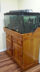 55 fish tank and  wooden stand