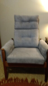 Teak framed couch and two chairs. Retro