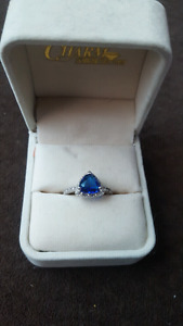 Blue Stoned Charmed Aroma Ring Size 8