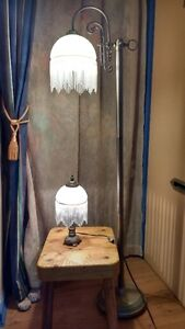 Alabaster Glass Lamps with beaded fringe