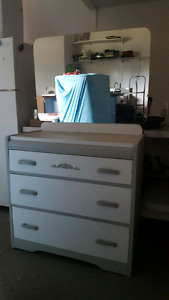 Antique Waterfall Dresser+Mirror OBO