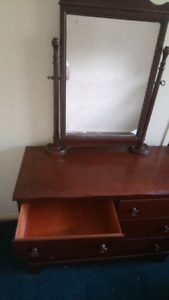 Hard wood dresser with attached mirror