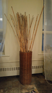Ikea bamboo sticks display and container