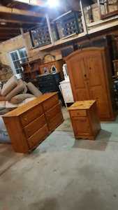 pine armoire dresser and night table