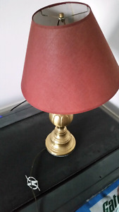 2 brass tri lamps with burgandy shades