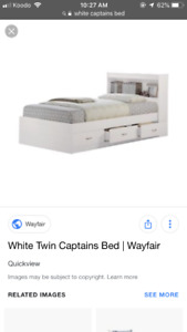 Twin captains bed with mattress included