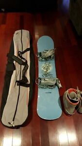 Snowboard with bindings