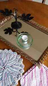 Vintage perfume jewelry tray chandelier candle holder