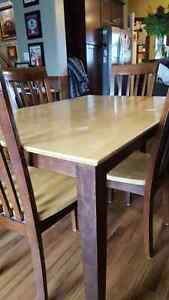 Espresso and light wood, solid wood dining table and 4 chairs.