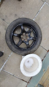 T145/70R17  UNIVERSAL SPARE TIRE BLACK RIM 1 PIECE AS IS REXDALE