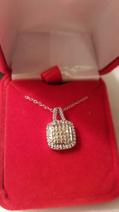Platinum plated chain  Zircon diamond pendant  $10