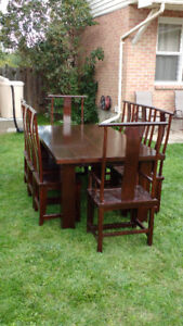 Large elm dining table with 8 chairs