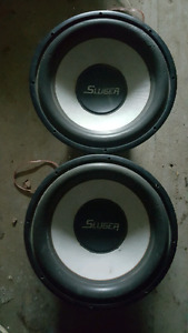 "15"" Subs with amp and wiring"
