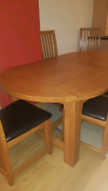Solid Oak Dining Table with 6 Chairs for sale
