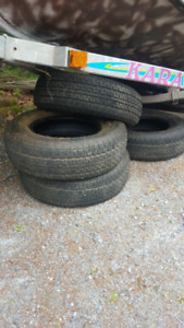 Trailer tires, excellent tread but best for a yard trailer