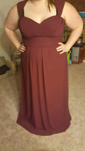 Burgundy formal gown /wedding dress /bridesmaid