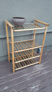 Bamboo and glass shelf - vintage - mid century modern - funky!