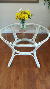 Glass Top Rattan Wicker  DiningTable