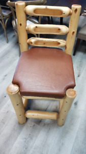 Wood log bar stools with leather seats