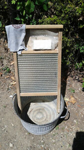 Antique Washboard and Tub