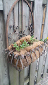 Decorative hanging stand - brown metal with insert . UNIQUE !