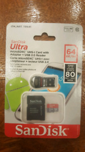 64 GIG MICRO SD CARD WITH ADAPTER AND USB READER!