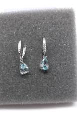 ⚘Diaspore Gemstone 925 Sterling silver Clip Earrings Blue Aquamarine