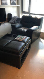 Leather Chair + free ottoman