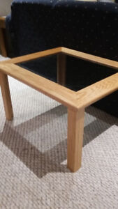HANDMADE OAK & GLASS COFFEE TABLE