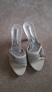 White and Silver Sparkly Heels- Size 6