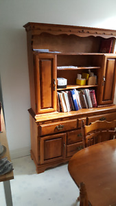 solid maple buffet and hutch  best offer