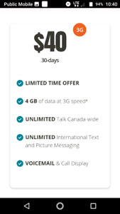 $40 4GB data Public Mobile promo plan Canada wide