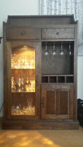 solid maple hutch/display cabinet with touch light