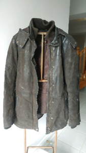 XXS Brown Danier Leather Coat wuth Removable Liner