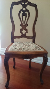 Antique Carved Wood Parlour Chair with Tapestry Fabric Seat