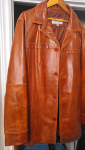 Large genuine Wilons Leather retro 3/4 jacket