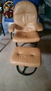 Pure Leather recliner and ottoman