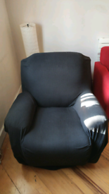 Recliner armchair single seat sofa with black cover