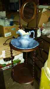VINTAGE WASH STAND WITH PITCHER AND BOWL