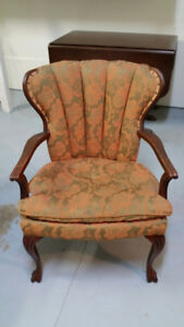 Vintage Channel Back Chair with Wood Frame