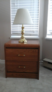 Bedroom set: dresser w/mirror, side tables, two lamps $100